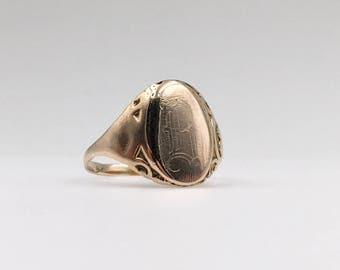 1920s 14K Gold Monogram Signet Ring