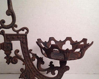 Now On Sale Cast Iron Gothic Swing Arm Victorian Oil Lamp Eastlake Wall Mount Plant Holder Candle Holder