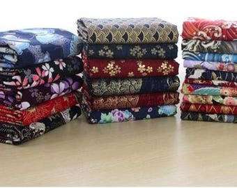 150cm/ 59 inch  Width, Flower Floral Pattern Linen Cotton Fabric, Half Yard