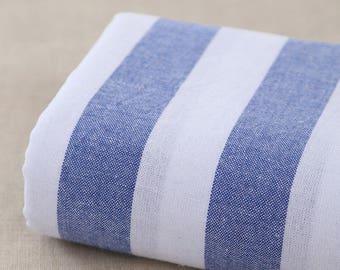 140 cm / 55 inch Width, Blue and White Stripe Pattern Linen Cotton Fabric , Half Yard