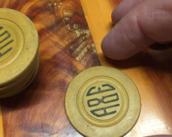 1 Antique Poker Chip ~ A&E ~ (10 available)