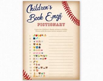 Baby Shower Game - Baseball Baby Shower -  Emoji Pictionary - Baseball Baby Shower Printable - Baby Shower Emoji Game - Baseball