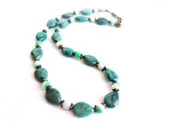 Jasper necklace gemstone beaded necklace green leopardskin jasper stone necklace green stone bead necklace women necklace natural stones