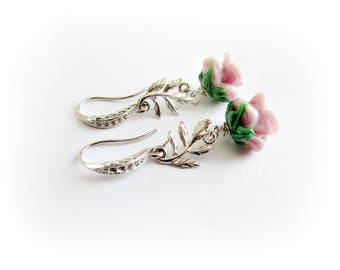 Rose flower earrings, lampwork glass earrings, flower dangle earrings silver, pink flower glass earrings, floral jewelry, italian jewelry