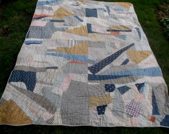 Antique primitive indigo, shirting and solids crazy style quilt~abstract art quilt