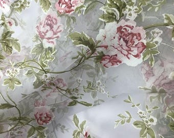 Organza Fabric Printed Pink Rose Fabric, Curtains Fabric, Wedding Dress  Fabric By 1.1 Yard