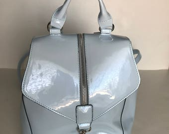 Vintage Pale Baby Blue Patent Backpack