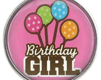 C1016  Art Glass Print Chunk - Birthday Girl w/PolkaDot Balloons