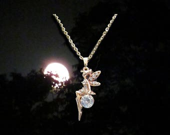 Charming Fairy and Gem Multi Tone Gold Necklace Pendant Jewelry