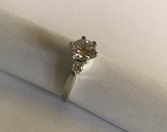 Vintage Sterling silver CZ ring sz 8 engagement