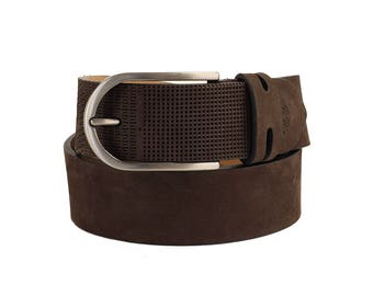 Free shipping! Mens brown belt, brown leather belt, embossed leather belt, embossed mens belt, men's nubuck belt, nubuck belt, gift for him