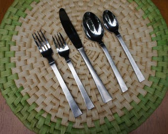 60's 40 piece 8 settings Balfour Japan Danish mid century modern solid fine quality stainless steel flatware 5 piece place settings