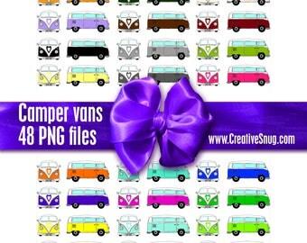 48 x PNGs Rainbow Coloured Retro VW CAMPER Van Clipart Instant Downloadable Digital Images