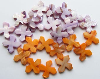 Mixed Lot of Orange and Purple Shell Beads, Cross Diagonal Drill 21mm