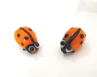 x 2 lampwork Ladybug beads, orange glass blackheads