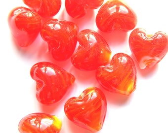 x 5 beads 12 mm glass lampwork red heart