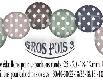Images digital jewelry polka dots 3 cabochons