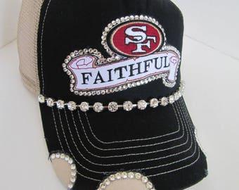 Trucker Hat, SF 49er Trucker Hat, SF, 49er, Gray Trucker Hat, Football Team,  Bling Hat, Spirt Hat, Womens Hat, Swarovski Crystal Hat