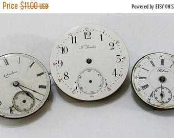 ON SALE 3 Antique Pocket Watch Movements and Partial - Steampunk, Altered Art, Assemblage Supplies - not working