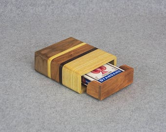 Playing Card Case for 1 Deck of Poker Cards - Handmade from Various Wood Strips - Drawer Slides Out for Easy Deck Removal