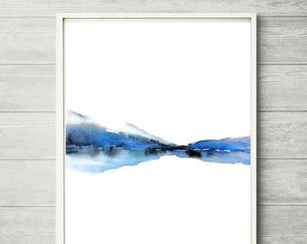 Turquoise Wall Art Watercolor Print, Mountain Landscape, Mountain Decor, Turquoise Watercolor Painting, Relaxing Art Print, Lake Print,8x10+