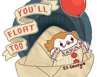 You'll Float Too Kawaii It Sticker ( stephen king down here clown horror )
