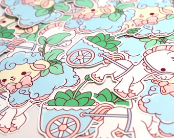 Kawaii Planters Stickers ( Pastel Lamb and Pony Cart Sticker Set )