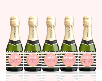 Wedding Milestone champagne labels Mini Champagne labels Wine Labels  Wedding Wine Engagement gifts for couple  planning checklist PRINTABLE