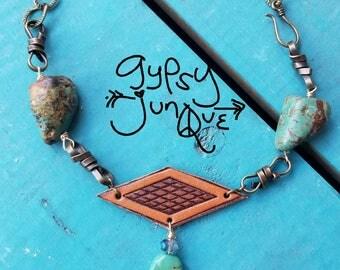 Mermaid Turquoise Beach Leather Jewelry Handmade Boho Gypsy Hippie Necklace