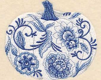 embroidered Hand towel - delft blue pumpkin - many colors available