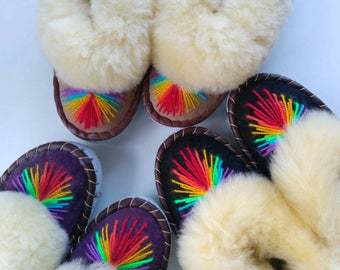 Sheepskin  slippers Ukrainian fur slippers Women moccasins Warm slippers Leather shoes Rainbow embroidery