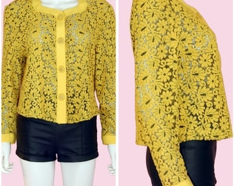 Yellow Blouse Vintage Floral Top Golden Yellow Long Sleeve Blouse Large