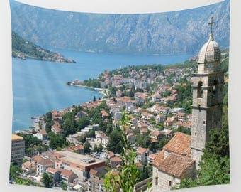 Montenegro Wall Tapestry, Kotor, Living Room Wall Art, Balkans Travel, Travel Photography, Travel Art