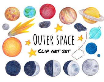 Planets and Space clip art, hand drawn clip art of moon phases and planets, hand drawn graphics, outer space clipart, digital scrapbooking