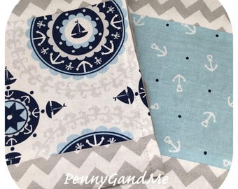 Personalized Nautical Burp Cloths, Minky Burp Cloths, Anchor Baby Gift, Burp Cloth Set, Baby Shower Gift, Newborn Gift