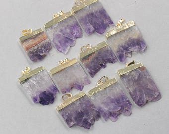 Amethyst Druzy Slice Pendant -- With Electroplated Gold Edge Charms Wholesale Supplies YHA-078