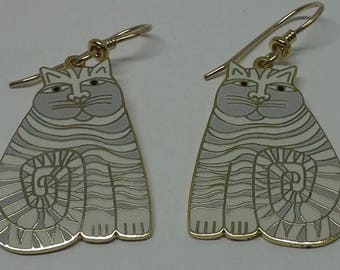 "Laurel Burch dangle earrings""Shambala"" cats enamel & gold plated"