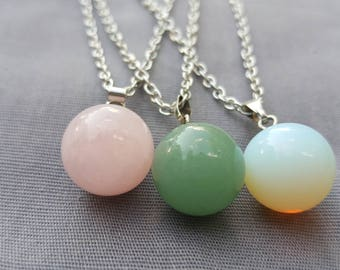 Gemstone necklaces- your choice- Aventurine, opal, rose quartz on 18:chain