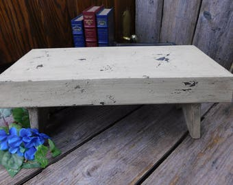 Vintage Primitive Cream Colored Farm Bench