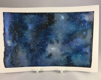 Galaxy Watercolour Painting, Blue Galaxy,  Hand Painted Watercolor, Outer Space Painting, Stars and Galaxies, Nebulae Painting