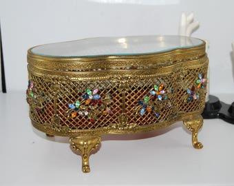 Massive Antique Casket Box Gilt Ormolu Rhinestone Filligree  Tinket Jeweled Beveled  Glass 11x7