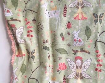 Fairy Lovey, Fairy security blanket, peach Minky baby lovey, fairies bedding floral nursery fairy nursery, double minky, blush pink,