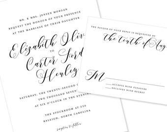 Modern Script | Wedding Invitation | DIY Option Available | Invitation | RSVP | Info Card #1221
