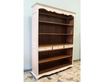 Bookcase lacquered in Cream and walnut