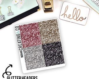 Faux Glitter Header Planner Stickers for a Variety of Planners to match What's in My Bag? - NGH46
