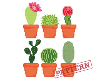 Cactus Cross Stitch Pattern Set of 6 Potted Cacti