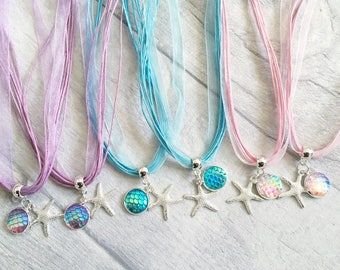 Mermaid Necklace, Dragon Necklace, Party Bag Filler, Girl Party Favor, Birthday Favors, Party Favors, Loot Bag Filler, Mermaid Tail
