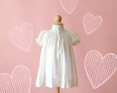 Vintage 1980s Pale Pink Smocked Yoke Infant Dress (Size 3 Months)