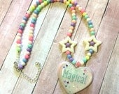 Fairy Kei Inspired Beaded Necklace With Magical Word Heart Pendant