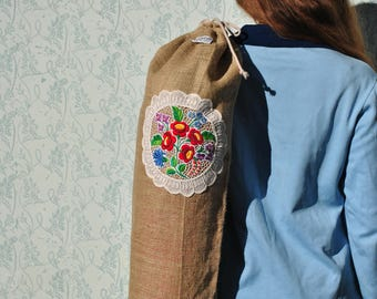 Yoga bag for mat, yoga bag embroidered, yoga bag, yoga bags, yoga mat bag, floral yoga bag